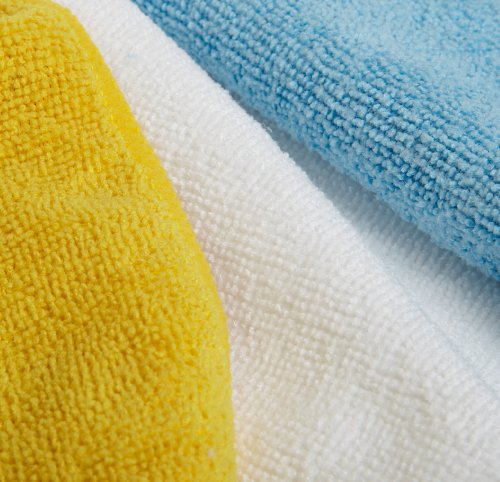 AmazonBasics Blue and Yellow Microfiber Cleaning Cloth, 144-Pack