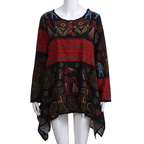 irrgulier Shirts Shirt Floral Femmes Chemisier T Femme Noir Tops U Lache lache Femme Longues Weant Imprim Chemisiers Manches Col Blouse Chemise Ourlet Ourlet Blouse RAzwqqx5