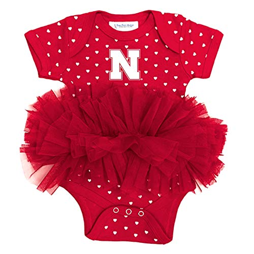 Nebraska Girl - Two Feet Ahead NCAA Nebraska Cornhuskers Girls Infant Girls Heart Tutu Creeperinfant Girls Heart Tutu Creeper, Red, New Born