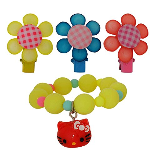 [Maayra Kids Bracelet Hair Clips Combo Flower Kitty in Multicolour for Dailywear Pack of 4] (Benefit Ballet Costumes)