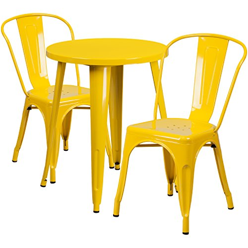 (Flash Furniture 24'' Round Yellow Metal Indoor-Outdoor Table Set with 2 Cafe Chairs)
