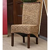 wicker dining room chairs International Caravan SG-3310-2CH-IC Furniture Piece Bunga Hyacinth Dining Chair (Set of 2)