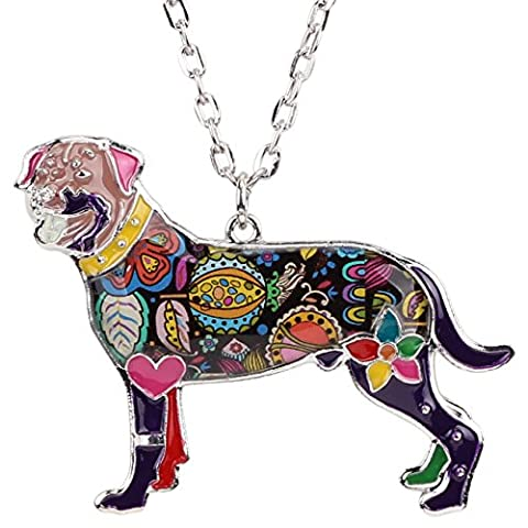 Bonsny Love Heart Enamel Zinc Alloy Metal Rottweiler Necklace Dog Animal pendant Jewelry Unique Design - Rottweiler Jewelry