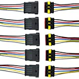 E Support 5 Pin Way Car Auto Waterproof Electrical Connector Plug Socket Kit with Wire AWG Gauge Marine Pack of 5