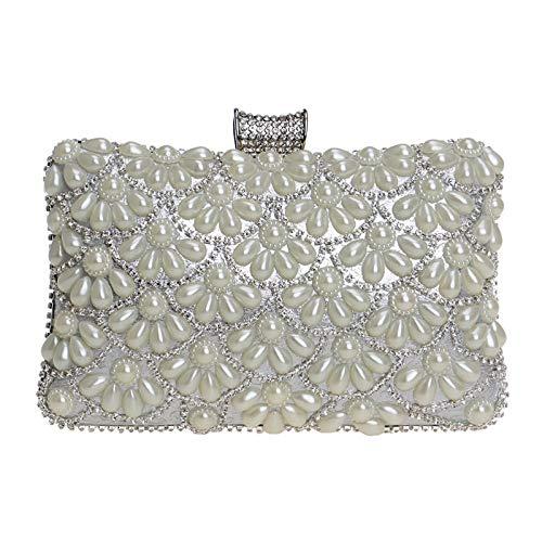 Sac Main Prom Diamant Clutch Silver Bourse Fleur Femme Fête Sac GODW D'embrayage Robe Perle Pochette à Soirée Mariage ZOxUw47q