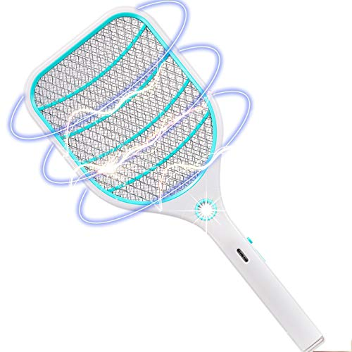 Bug Zapper Racket,Electric Fly Swatter,Fly Killer and Mosquito Swatter - USB Rechargeable - 3000 Volt - Bright LED Light - Unique 3-Layer Safety Mesh Safe(Blue) -
