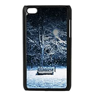 Lonely Christmas Snowing Park iPod Touch 4 Case Black Protect your phone BVS_712945
