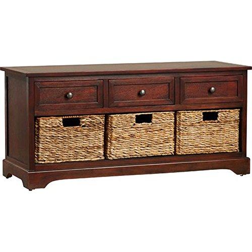 - Mahogany Ardina Wood Storage Entryway Bench, 19.5'' H x 42'' W x 15.25'' D, Storage Compartment 7.75'' H x 12'' W x 13'' D
