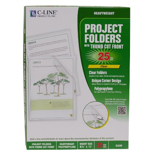 C-Line Biodegradable Poly Project Folders, Reduced Glare, Clear, 8.5 x 11 Inches, 25 per Box (62627) ()
