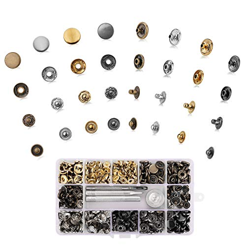 (100 Sets Snap Fastener Kit Leather Button Tool Press Studs with 4 Pieces Fixing Tools for for Leather, Coat, Down Jacket, Jeans Wear and Bags ,12.5 mm in Diameter)