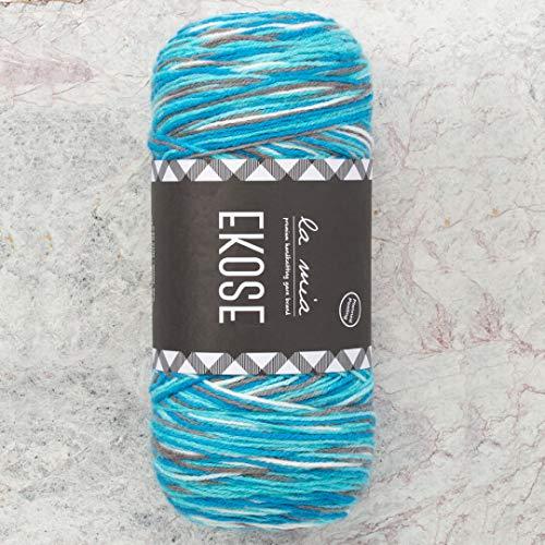 (2 Skein (Pack) La Mia Ekose, Planned Pooling, Total 14 Oz. 20% Wool, 80% Acrylic, Each 7 Oz (200g) / 590 Yrds (540m), 3 Light DK, Blue Grey - LE003 )