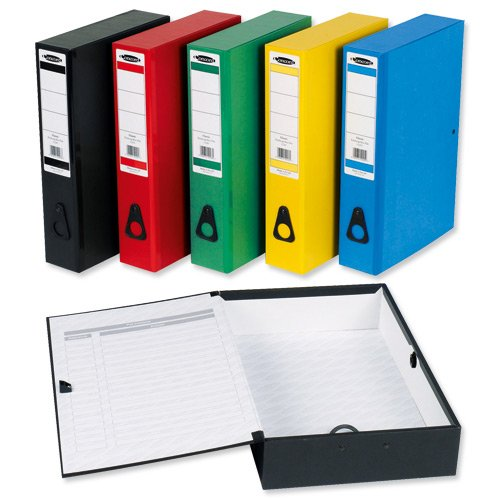 Concord Classic Box File Paper-Lock Finger-Pull and Catch 75mm Spine Foolscap Assorted Ref C1289 [Pack of 5]