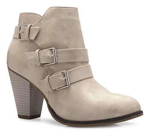OLIVIA K Women's Classic Stacked Wood Heel Side Zipper Enclosure - Adjustable Ankle Straps Buckle