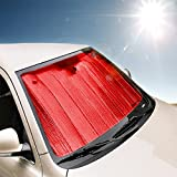 Zento Deals Premium Quality Reversible Red/Silver Car Sunshade- Blocks Sun UV Rays of the Intense Summer Temperature