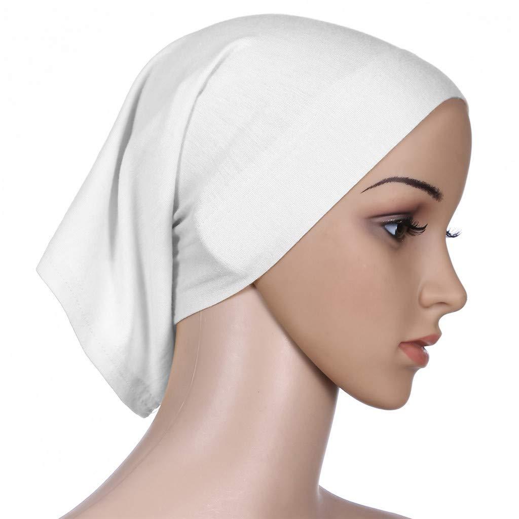 Coco-Z 2019 comf Muslim Inner Hijab Headscarf Cap Islamic Full Cover Islamic Hat White