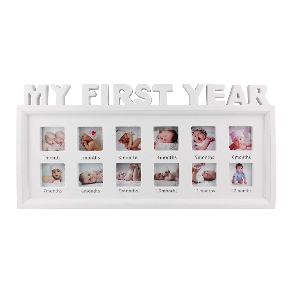 My First Year Frame Baby Picture Keepsake Frame for Photo Memories, White by ESTAMICO