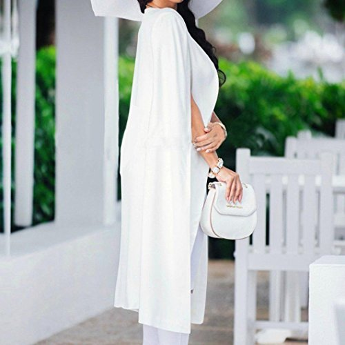 Mujer Capa Trench Mujer Blanco Cabo Suelta Cárdigan Larga para para Cárdigans KaloryWee x10Bvnq0