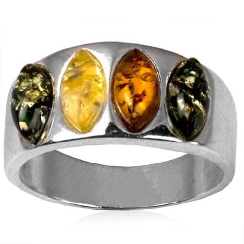 Sterling Silver Multicolor Amber Four Stones Marquise Shape Ring