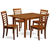 East West Furniture MILA5-SBR-W 5-Piece Dinette Table Set For Sale