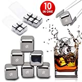 Whiskey Stones Ice Cubes, Set of 10 Stainless Steel Ice Cubes Reusable Chilling Frozen Rocks for Whiskey Wine Beverage Juice or Soda, Nonslip Rubber 'n Tongs & Plastic Storage Tray Silver