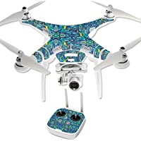 MightySkins Protective Vinyl Skin Decal for DJI Phantom 3 Professional Quadcopter Drone wrap cover sticker skins Blue Veins