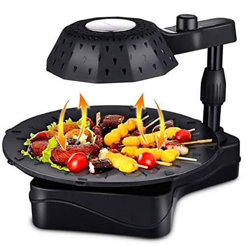 (Electric Smokeless Indoor Grill - Griddle w/Non-Stick Cooking Surface & Adjustable Temperature Knob from Warm to Sear and Turbo Speed Smoke Extractor Technology (color : Black))