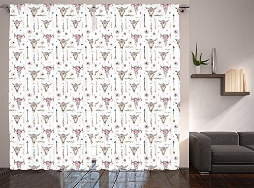 """Ambesonne Arrows Curtains, Boho Pattern Artwork with Arrows Feathers Cow Skulls Rustic Theme Artwork, Living Room Bedroom Window Drapes 2 Panel Set, 108"""" X 90"""", White Ivory"""