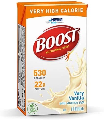 BOOST Very High Calorie Complete Nutritional Drink, Very Vanilla, 8 Ounce Box (Pack of 27) 1