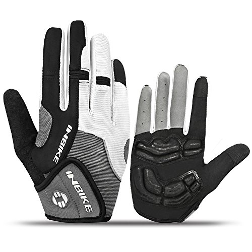 INBIKE Cycling Gloves Full Finger, 5mm Gel Pad Touch Screen Biking Gloves MTB Outdoor Men Grey XX-Large (Best Autumn Cycling Gloves)