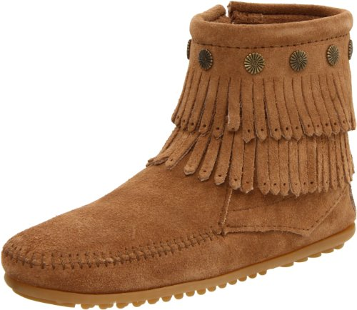 Minnetonka Women's Double Fringe Side Zip Boot,Taupe,7.5 M US