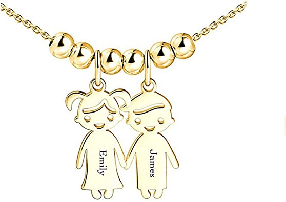 Engraved with 2 Names and birthstones-Custom Made Jewelry Junmei Personalized Infinity Heart Name Necklace