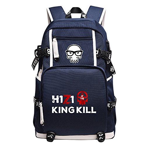 - YOURNELO Boy's H1Z1 King Of The Kill Online PUBG Game Rucksack School Backpack Bookbag (B Blue 3)
