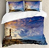 Lighthouse Decor King Size Duvet Cover Set by Ambesonne, Cap de Favaritx Sunset Lighthouse Cape in Mahon at Balearic Islands of Spain Coast, Decorative 3 Piece Bedding Set with 2 Pillow Shams