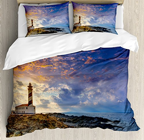 Lighthouse Decor Queen Size Duvet Cover Set by Ambesonne, Cap de Favaritx Sunset Lighthouse Cape in Mahon at Balearic Islands of Spain Coast, Decorative 3 Piece Bedding Set with 2 Pillow Shams by Ambesonne