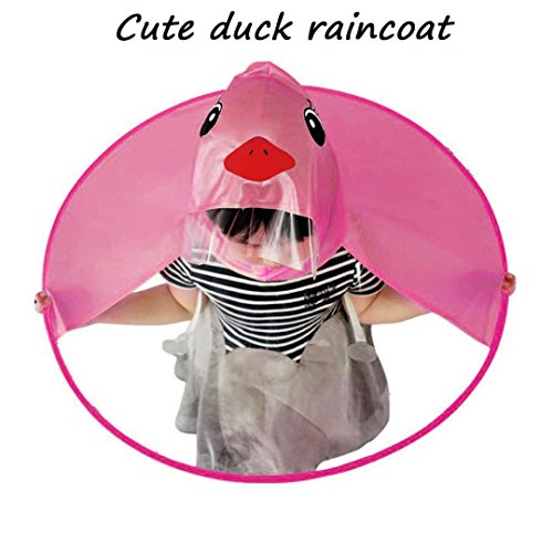 Gbell Toddler Boys Girls Cute UFO Rain Coat,Lightweight Umbrella Hat Magical Hands Free Duck Raincoat for Kids 4-10 Years Old (Hot Pink, S)
