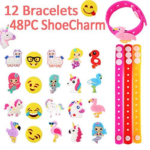 Jibbitz Bracelet Rubber Bracelets for Kids,48PC Shoe Charm & 12PC Bracelets, Emoji Bracelets, Unicorn (Halloween Rubber Bracelet)