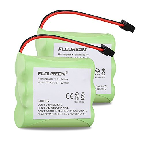 Floureon 2 Packs BT-905 3.6V 1500mAh Ni-MH Fruit Uniden Replacement Cordless Phone Battery for Uniden BT905 BBTY0663001 BBTY-0444001 BBTY-0449001 (Green)