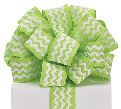 Burton & Burton Chevron Ribbon Lime Green & White #9 Wired Woven, 1 1/2