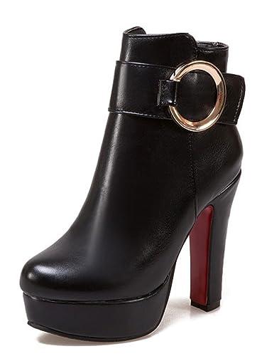 Easemax Damen Warm Hohe Plateau Metall Riemen High Top Stiefel Mit Absatz Gelb 41 EU yTRCSb0