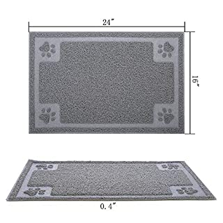 """Gefryco Pet Dog Feeding Mats for Food and Water Bowl, Traps Litter from Box and Paws, 24"""" x 16"""" Flexible Waterproof and Slip Resistant Dogs & Cats Mat"""