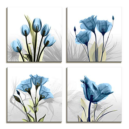 Moyedecor Art - 4 Panel Elegant Tulip Flower Canvas Print Wall Art Painting For Living Room Decor And Modern Home Decorations (Four 12X12in, Blue flower prints framed) ()