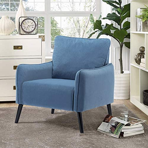 Altrobene Modern Velvet Accent Chair, Home Office Reception Chair, Living Room Arm Chair with Wooden Legs, Dark Blue