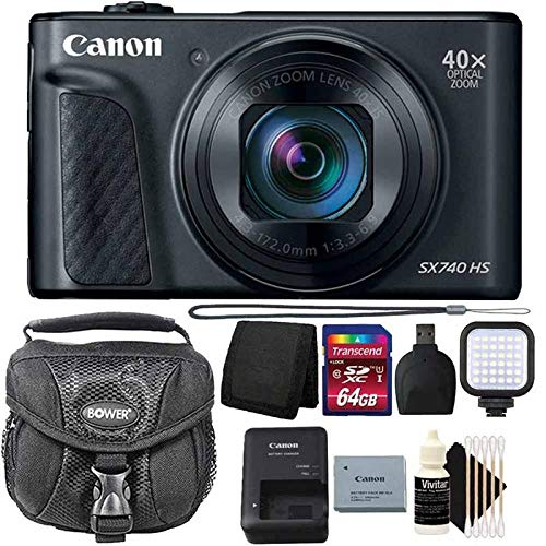 Canon PowerShot SX740 HS 20.3MP 40x Zoom Point and Shoot Digital Camera Black with Pro Video 64GB Bundle