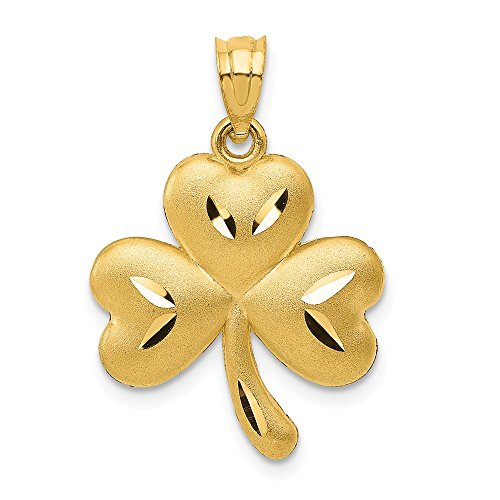 Solid 14k Yellow Gold Shamrock Pendant Charm (15mm x 25mm)