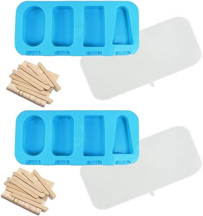Compra Molde de Helado de Silicona, Molde para paletas de Hielo con 50 palos de madera, Reutilizable Moldes Silicona con Cubierta de sellado, Moldes de Helado de Bricolaje Hechos a Mano Hechos