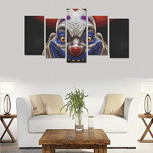 Evil Scary Clown Monster (no Frame) Canvas Print Sets Wall Art Picture 5 Pieces Paintings Posters Prints Photo Image On Canvas Ready to Hang for Living Room Bedroom Home Office Wall Decor ()