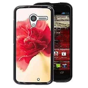 A-type Arte & diseño plástico duro Fundas Cover Cubre Hard Case Cover para Motorola Moto X 1 1st GEN I (Flower Spring Red Pink Yellow Petal)