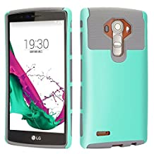 LG G4 Case, iMusi 2IN1 Shockproof Dual Layered Protective Cover Case Skin for LG G4 - Mint Green/Grey