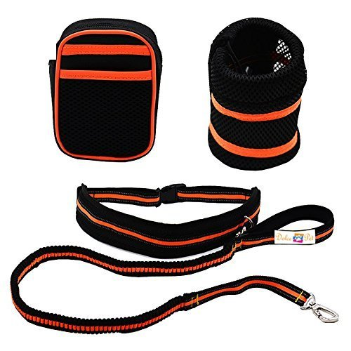 Hands Free Dog Leash - Weatherproof Nylon and Adjustable Waist Strap and Strong Dual Bungee, Comfortable, Luminous Reflective for Night Use, Safe for Big Dog Running Harness (Orange)