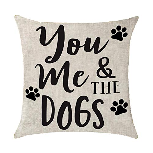(Bnitoam Animal You Me and The Dogs Print Gift Holiday Cotton Linen Throw Pillow Covers Case Cushion Cover Sofa Decorative Square 18x18 inch Decorative Pillow Wedding)